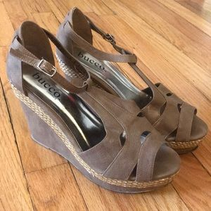 Genuine Bucco leather platform sandals